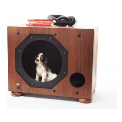 """Subwoofer Pet House/Side Table - Back in the late 80s/early 90s, this Shure subwoofer may have been pounding out sounds in someone's newly furnished """"home theater"""" but these days, it has been upcycled as a home for your very best friend AND a very cool table at the side of your bed or favorite chair."""