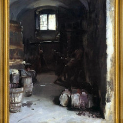 "John Singer Sargent-16""x20"" Framed Canvas - 16"" x 20"" John Singer Sargent Pressing the Grapes: Florentine Wine Cellar framed premium canvas print reproduced to meet museum quality standards. Our museum quality canvas prints are produced using high-precision print technology for a more accurate reproduction printed on high quality canvas with fade-resistant, archival inks. Our progressive business model allows us to offer works of art to you at the best wholesale pricing, significantly less than art gallery prices, affordable to all. This artwork is hand stretched onto wooden stretcher bars, then mounted into our 3"" wide gold finish frame with black panel by one of our expert framers. Our framed canvas print comes with hardware, ready to hang on your wall.  We present a comprehensive collection of exceptional canvas art reproductions by John Singer Sargent."