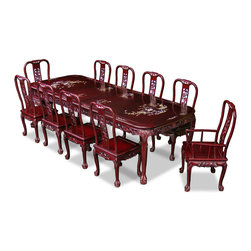 "China Furniture and Arts - 114in Rosewood Queen Ann Grape Motif Dining Table with 10 Chairs - Hand crafted of solid rosewood using traditional joinery techniques by artisans in China, this dining set features intricately inlaid mother-of-pearl designs throughout the surface of the table and chairs. Elaborate hand carved organic patterns add additional appeal. This rectangular dining set is a true work of master craftsmanship and is sure to make an eye catching center piece. The table can be extended to 114"" with two 20"" removable leaves for your convenience. Hand applied dark cherry finish enhances the beauty of the pearl inlays."