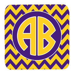 Caroline's Treasures - Chevron Purple and Gold for LSU Personalized Initial Foam Coasters, Set of 4 - Foam Coaster - 3 1/2 inches by 3 1/2 inches. Permanently dyed and fade resistant. Great to keep water from your beverage off your table and add a bit of flair to a gatering.  Match with one of the insulated coolers or huggers for a nice gift pack.  Wash the coaster in the top of your dishwasher.  Design will not come off.  Made from our mouse pad material and is heat resistant.