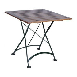 Furniture Designhouse Square European Cafe Folding Table - 32 x 32 in. - With an oil-treated African teak and gage steel construction- the Furniture Designhouse Square European Cafe Folding Table - 32 x 32 in. is suitable for indoor and outdoor use. Its frame has a 100% polyester baked, anti-UV powder coat that does not crack, blister or peel. Suitable for year-round use, this cafe table is sturdy and durable and has a friendly fold-flat design for easy storage. Slightly oversized covers on the legs provide stability and protection.