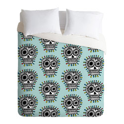 DENY Designs - Andi Bird Sugar Skull Fun Aqua Duvet Cover - Turn your basic, boring down comforter into the super stylish focal point of your bedroom. Our Luxe Duvet is made from a heavy-weight luxurious woven polyester with a 50% cotton/50% polyester cream bottom. It also includes a hidden zipper with interior corner ties to secure your comforter. It's comfy, fade-resistant, and custom printed for each and every customer.