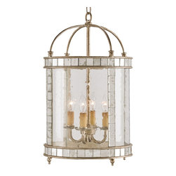 Currey & Company - Corsica Large Lantern - Vintage styling with a pleasing combination of materials make this four-light lantern unique. Inlaid antiqued mirror enhances an antiqued silver leaf framework. Seeded bent glass is the finishing touch that pulls it all together.