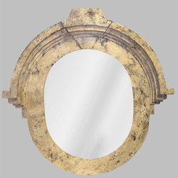 Hickory Manor House - French Architectural Mirror in Vintage Blanc - Vintage original. Custom made by artisans unfortunately no returns allowed. Enhance your decor with this graceful mirror. Made in the USA. Made of pecan shell resin. 28 in. W x 29 in. D (12 lbs.)