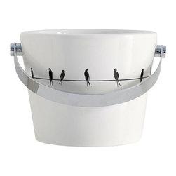 Scarabeo - Bathroom Bucket Sink with Bird design - Modern style vessel bathroom bucket sink.