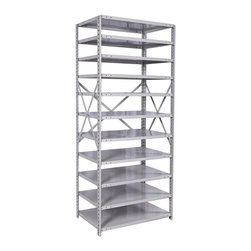 Hallowell - MedSafe Antimicrobial Hi-Tech Shelving Starter Unit (36 W x 12 D x 87 H (108 lbs - Size: 36 W x 12 D x 87 H (108 lbs.). Eleven adjustable shelves. Open style with sway braces. Standard foot plate for strong and rigid anchor point. GREENGUARD Children and School certified. Warranty: One year. Made from rolled steel. Platinum color. Made in USA. Assembly required. Shelving with 350 lb. shelf capacity:. 48 in. W x 24 in. D x 87 in. H (195 lbs.). Shelving with 375 lb. shelf capacity:. 48 in. W x 12 in. D x 87 in. H (136 lbs.). 48 in. W x 18 in. D x 87 in. H (165 lbs.). Shelving with 500 lb. shelf capacity:. 36 in. W x 12 in. D x 87 in. H (108 lbs.). 36 in. W x 18 in. D x 87 in. H (132 lbs.). 36 in. W x 24 in. D x 87 in. H (156 lbs.)MedSafe Shelving brings together the specially formulated finish of our MedSafe lockers and the versatile storage of our Hi-Tech shelving system. The antimicrobial powder-coat finish provides protection against microbes such as bacteria, mold and mildew for up to 20 years making this versatile shelving ideal for schools and healthcare facilities.