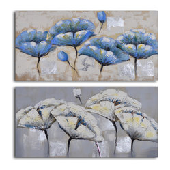 Blue white poppy quartet Hand Painted 2 Piece Canvas Set - Clear off some wall space. This original, hand-painted depiction of poppies complements any decor from modern to traditional. Hang them together, or separately, for a completely different look. P.S. No framing necessary.