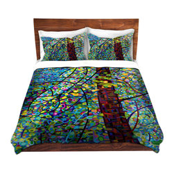 DiaNoche Designs - Duvet Cover Microfiber Queen from DiaNoche Designs by Mandy Budan - Pine Sprites - DiaNoche Designs works with artists from around the world to bring unique, artistic products to decorate all aspects of your home.  Super lightweight and extremely soft Premium Microfiber Duvet Cover (only) in sizes Twin, Queen, King.  Shams NOT included.  This duvet is designed to wash upon arrival for maximum softness.   Each duvet starts by looming the fabric and cutting to the size ordered.  The Image is printed and your Duvet Cover is meticulously sewn together with ties in each corner and a hidden zip closure.  All in the USA!!  Poly microfiber top and underside.  Dye Sublimation printing permanently adheres the ink to the material for long life and durability.  Machine Washable cold with light detergent and dry on low.  Product may vary slightly from image.  Shams not included.