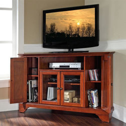 Crosley Furniture - LaFayette 48 in. Wood Corner TV Stand w Brack - LaFayette Collection. Classic Cherry finish. 3 Adjustable shelves. 4 Beautiful raised panel doors. Accommodates most 52 in. TVs. Solid hardwood and veneer construction. Hand rubbed multi-step finish. Tempered beveled glass doors. Wire management. Adjustable levelers in legs. Hardware design:. Brushed Nickel hardware for Black finish. Antique Brass hardware for Classic Cherry finish and Vintage Mahogany finish. Assembly required. 1-Year manufacturer's warranty. 47.75 in. W x 18 in. D x 30 in. H (98 lbs.)
