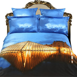 Dolce Mela - King Size Luxury Duvet Covet Set City Themed Dolce Mela DM430K - Decorate your bedroom with this city themed bedding of Louvre printed on this bedding ensemble and bring yourself to Paris every time you enter your bedroom.