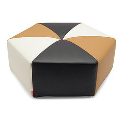 Sixtree Ottoman, Black/White/Caramel - This hexagon ottoman reminds me of the Roaring '20s. I could see it in a really chic modern space, or it could add a fun punch to a traditional space.