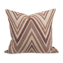 IK Kamaria Embroidered Pillow with Down Insert - A funky chevron pattern adds warmth and interest to the Kamaria pillow that features deep red embroidered accents, a natural linen cover and down fill. Designed by Iffat Khan.