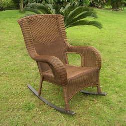 International Caravan - International Caravan Aluminum Frame Resin Weave San Tropez Rocker Chair - This San Tropez Outdoor rocker is a stylish and comfortable addition to any patio or garden setting. Featuring a strong,durable aluminum frame and 4 mm resin wicker weave,this weather resistant chair is perfect in any setting.