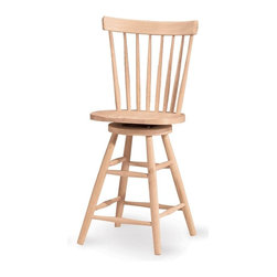International Concepts - Copenhagen Unfinished Swivel Counter Stool - Add this swivel stool to your kitchen or dining area for an enhanced seating arrangement. The stool has rugged wood construction for long lasting durability. A curved upper support and slat back provide excellent support. Splayed legs are strengthened by turned braces. Veneer hoop. Swivel stool. Made of Solid Parawood. Only 4 nuts to attach to 4 bolts. Ships knock-down. Assembly required. 17.4 in. W x 15.5 in. D x 42 in. H (26 lbs.). Seat height: 24 in.
