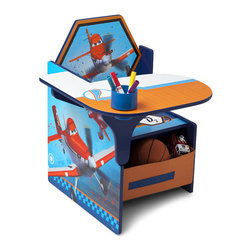 Adarn Inc - Plane Boys Chair Desk w/ Removable Bin Storage Toy Organizer Cup Holder - Whether they're tackling snack time or school work, this Planes Desk makes the grade! Boasting a colorful, painted finish that showcases the sky-high style of the hit movie, it also features a built-in cup holder and a storage bin underneath that keeps art supplies, books or toys close at hand. Meets all JPMA safety requirements. Some assembly required. Complements other Disney Planes items sold separately online by Delta Children's Products.