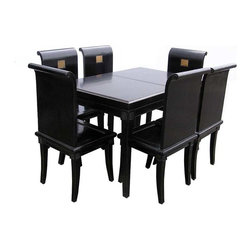 Golden Lotus - Chinese Handmade Black Lacquer Dinning Table Set / 8 Chairs - You are looking at a Chinese handmade black lacquer calligraphy carving dinning table set. It comes with 8 charming scroll shape chairs and every single one has calligraphy carving on the front side of the back.