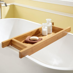 "33"" Hancock Bamboo Tub Caddy - You will find ample space for holding toiletries and other bath accessories with the Hancock Bamboo 33"" Tub Caddy, made of eco-friendly material."