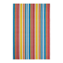 Fab Habitat - Rio - Multi & Orange (5' x 8') - Vibrant and eco-chic, this one hundred percent recycled cotton rug is striped perfection. The bright, hand woven pattern of this ecofriendly rug comes in a variety of sizes, and will add verve to your floor.