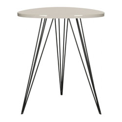 Safavieh - Wolcott Lacquer Side Table - Contrasting colors and textures pack a punch in the chic and contemporary Wolcott lacquer side table. A taupe lacquer top and triad of black iron hairpin legs make an open, airy statement in crowded rooms. This table is perfect beside a sofa or armchair.