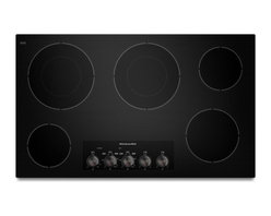 "KitchenAid - KECC662BBL 36"" Smoothtop Electric Cooktop With 5 Radiant Elements  Simmer/Melt F - Easily prepare a variety of meals with this KitchenAid KECC662B electric cooktop which features 5 elements that offer heat ranging from 1200 to 2500 watts for thorough cooking The power-on light lets you know at a glance when the cooktop is in use"