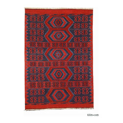 New Turkish Kilim Area Rug - New Turkish Kilim Area Rug hand-woven in Konya, Turkey with vegetable-dyed and hand-spun wool. The fringes can be removed upon request.
