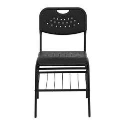 Flash Furniture - Hercules Series 880 lb. Capacity Black Plastic Chair with Book Basket - This is the perfect chair for high school students to adult educational classroom settings. This chair also is great in the home for studying. The book rack allows for easy transformation into the classroom or training room setting. The contoured seat with waterfall front will give you complete comfort and lasting durability.