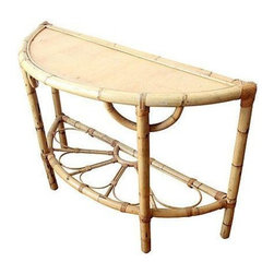 Used Rattan Bar or Entryway Console - A great vintage rattan half moon table - makes a perfect small bar or entry way table. Flower petal like details along bottom shelf. In great condition with light wear to the top.