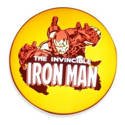 "Tmd Holdings Llc. - Ironman Wall-Hanging Disc Light - This wall-hanging disc light boasts a bold image of Marvel Comics' Ironman, bringing a colorful touch to any room in a bold shade of yellow. Measures 16"" Diameter."