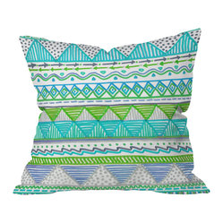 DENY Designs - Lisa Argyropoulos Ocean T 1 Throw Pillow, 18x18x5 - Bright geometric patterns and squiggly lines map out the flow of the ocean tides in tropical marine colors. For a fresh, sea-breezy look, toss this printed throw pillow onto a white or wicker chair. Then commence margarita sipping.