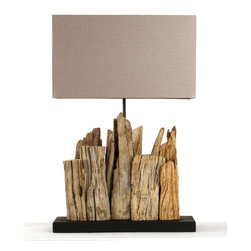 Zentique - Mini Vertical Riverine Lamp - The Mini Vertical Riverine Lamp features drift wood in a vertical direction on a rectangular base. UL Listed.
