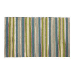 Garden Stripe Indoor/Outdoor Rug, 3 x 5', Multi - Jazz up a room or patio with this vibrant rug. Its colorful collection of thick and thin stripes layers easily with a wide range of upholstery and pillows. Click here for {{link path='pages/popups/wool_rug_care_popup.html' class='popup' width='480' height='300'}}recommended care{{/link}}. Hand loomed of polyester yarns. Yarn dyed for vibrant and lasting color. Easily rinses clean. Use with our Rug Pad (sold separately) to help extend the life of your rug. Imported. Watch a video about the entire process of crafting our {{link path='/stylehouse/videos/videos/pbq_v20_rel.html?cm_sp=Video_PIP-_-PBQUALITY-_-HANDMADE_RUGS' class='popup' width='950' height='300'}}handmade rugs{{/link}}. Internet Only.