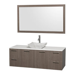 Wyndham Collection - 60 in. Single Sink Bathroom Vanity Set - Includes sink, white man-made stone top, mirror, drain assemblies and P-traps for easy assembly. Faucet not included. Square Carrera marble sink. Two functional doors. Concealed soft close door hinges. Modern brushed chrome door pulls. Unique and striking contemporary design. Four functional drawers. Fully-extending soft-close drawer slides. Deep doweled drawers. Single-hole faucet mount. Plenty of storage space. Eight-stage preparation, veneering and finishing process. Highly water-resistant low V.O.C. sealed finish. Metal exterior hardware with brushed chrome finish. Wall-mount design. Mirror glass thickness: 0.75 in.. Warranty: Two years limited. Made from beautiful veneers over highest quality grade E1 MDF. Gray oak finish. Door: 17.25 in. W x 20.5 in. H. Drawer: 12.63 in. W x 10.13 in. H. Mirror: 58 in. W x 33 in. H (40 lbs.). Vanity: 60 in. W x 22.25 in. D x 21.25 in. H (124 lbs.). Handling Instructions. Installation Instructions - Mirror. Installation Instructions - VanityModern clean lines and a truly elegant design aesthetic meet affordability in the Wyndham Collection Amare Vanity. Each vanity provides a full complement of storage areas behind sturdy soft-close doors and drawers. A wall-mounted vanity leaves space in your bathroom for you to relax. The simple clean lines of the Amare wall-mounted vanity family are no-fuss and all style.