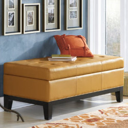 """Grandin Road - Lauren Leather Storage Ottoman - Crafted from durable leather. Classic, tufted detailing. Kiln-dried hardwood frame. View assembly Instructions. """"There's no substitute for a well-crafted, lasting first impression. Think of an entryway as your home's first hello."""" — GRANDIN ROAD EDITORS Our Lauren Storage Ottoman is a well-crafted, impressively sized and generously padded leather ottoman. By opening the lid, you'll discover ample storage for stowing away all sorts of hidden treasures. This ottoman makes a wonderful addition at the foot of the bed, in a hallway, or as your most comfortable coffee table yet  .  . . . Imported."""