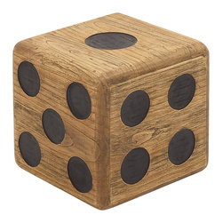 Fascinating Styled Wood Teak Dice Stool - Description: