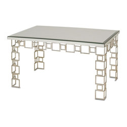 Currey & Co - Currey & Co 4166 Euclid Contemporary Silver Leaf Coffee Table - Currey & Co 4166 Euclid Contemporary Silver Leaf Coffee Table