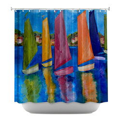 DiaNoche Designs - Shower Curtain Artistic - Reflections of Tortola - DiaNoche Designs works with artists from around the world to bring unique, artistic products to decorate all aspects of your home.  Our designer Shower Curtains will be the talk of every guest to visit your bathroom!  Our Shower Curtains have Sewn reinforced holes for curtain rings, Shower Curtain Rings Not Included.  Dye Sublimation printing adheres the ink to the material for long life and durability. Machine Wash upon arrival for maximum softness. Made in USA.  Shower Curtain Rings Not Included.