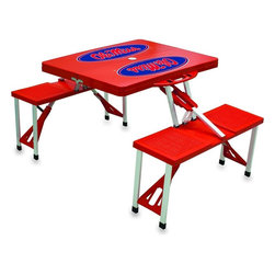 """Picnic Time - University of Mississippi Picnic Table in Red - Picnic Time's portable Picnic Table is a compact fold-out table with bench seats for four that you can take anywhere. The legs and seats fold into the table when collapsed so the item is easy to store and transport. It has a maximum weight capacity of 250 lbs. per seat and 20 lbs. for the table. The seats are molded polypropylene with a basket weave pattern in the same color as the ABS plastic table top. The frame is aluminum alloy for durability. The Picnic Table is ideal for outdoor or indoor use, whenever you need an extra table and seats. It includes a hole in the center of the table to accommodate a standard sized beach umbrella (having a pole that is 1.25"""" diameter or less). Pair it up with Picnic Time's multi-colored stripe Umbrella (812-00-996) or solid colored Umbrella 5.5 (822-00) in red, green, blue or black, sold separately.; College Name: University of Mississippi; Mascot: Rebels/OleMiss; Decoration: Digital Print"""