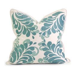 Imax - IK Namid Blue White Embroidered Pillow with Down Fill Cotton Decor - IK Namid blue white embroidered pillow with down fill cotton decor Imax 42186