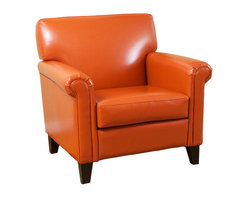 Great Deal Furniture - Canton Orange Leather Club Chair - Well designed and refined, The Canton Leather Club Chair exudes opulence. The modern yet classic lines of this finely constructed piece create a pleasing profile for any living space. Each chair is upholstered in thick, performance bonded vivid orange leather, with a pliable and soft hand that is easy to clean and extremely wear resistant. Gently rolled arms, a generous seating area, solid wooden block feet, and a slightly reclined back all add to its exemplary comfort. The Canton Leather Club Chair is a signature piece that you will cherish for generations.