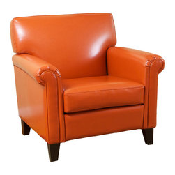 Great Deal Furniture - Canton Orange Leather Club Chair - Well designed and refined, the The Canton Leather Club Chair exudes opulence.  The modern yet classic lines of this finely constructed piece create a pleasing profile for any living space. Each chair is upholstered in thick, performance bonded vivid orange leather, with a pliable and soft hand that is easy to clean and extremely wear resistant. Gently rolled arms, a generous seating area, solid wooden block feet, and a slightly reclined back all add to its exemplary comfort. The Canton Leather Club Chair is a signature piece that you will cherish for generations.