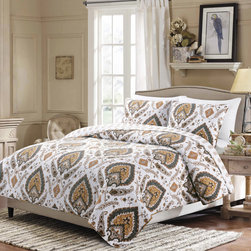 None - Medano Reversible Cotton 3-piece Quilt Set - A neutral Moroccan-inspired pattern lends exotic flair to this beautiful comforter set. Reversible to a chic paisley design,this pure cotton quilt and sham set is machine washable for easy clean-up.