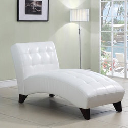 "Acme - Anna White Leather-Like Armless Chaise Lounger with Tufted Back and Seats - Anna white leather like armless chaise lounger with tufted back and seats. This chaise features a leather like upholstery with a tufted back and seat with wood legs. Measures 63"" x 26"" x 36"" H. Some assembly required."
