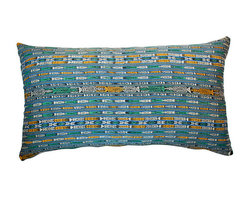 """Hot Moon Collection - Guatemalan Ikat Textile Pillow - Large pillow in vintage blue ikat from Guatemala, made by Mayan woman using a waist loom. Linen back with hidden zipper.  32"""" x 19"""" x 8"""""""