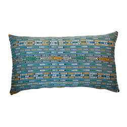 "Hot Moon Collection - Guatemalan Ikat Textile Pillow - Large pillow in vintage blue ikat from Guatemala, made by Mayan woman using a waist loom. Linen back with hidden zipper.  32"" x 19"" x 8"""