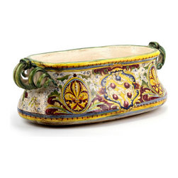 Artistica - Hand Made in Italy - Majolica Medici: Oval Jardiniere Cachepot with Scrol Handles and DeMedici Crest - Majolica Medici: