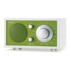 """Tivoli Audio LLC - Model One Radio - Frost White / Kelly Green - The Frost White Collection Model One AM/FM table radio features a pure white hand-lacquered cabinet, silver knobs, and a vibrantly colored faceplate.The Tivoli Audio Model One AM/FM table radio has been described as, """"The best sounding table radio ever made,"""" (MSNBC) offering, """"The kind of room-filling sound that many other radios claim to deliver but often don't."""" (Forbes). With a tuner that brings clarity to many of the weakest stations, the Model One radio begins with a handmade wood cabinet that is both beautiful and the ideal acoustically inert speaker housing. A heavy-magnet, long-throw driver is mated to a frequency contouring circuit that automatically adjusts output over half-octave increments, resulting in musically accurate tonal balance and bass response. """"When your stereophile loved ones turn the knob on the rock-solid Henry Kloss Model One Table Radio, they'll toss out all their multi-use, Bluetooth-enabled gadgets and cry with hi-fi joy,"""" (Elle). Like all Tivoli Audio products, the Frost White Collection Model One AM/FM table radio is compatible with iPod and other players. Available in four bright finishes to match any decor. An external FM antenna and 9' power cord are included. Features: -Color: Frost White / Kelly Green. -3"""" full range speaker. -5:1 ratio analog tuning dial. -AC/DC operation. -Amber tuning LED. -Auxiliary input. -Bass port. -Furniture grade wood cabinet. -Stereo headphone output. -Best use: Office and home. -One Year Warranty."""