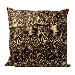 Fandindo Textiles LLC - South American Printed Cowhide (Insert not included) - This beautiful contrasting work on cowhide makes a wonderful statement piece that mixes traditional work on cowhide with a contemporary pattern. Black canvas back.