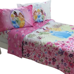 Store51 LLC - Disney Princess Full Comforter Set Royal Garden Bedding - Features: