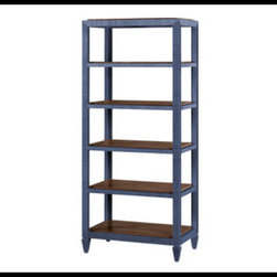 Bungalow 5 - Bungalow 5 Clairmont Etagere, Navy - BROWN: LACQUERED GRASSCLOTH: WALNUT VENEER