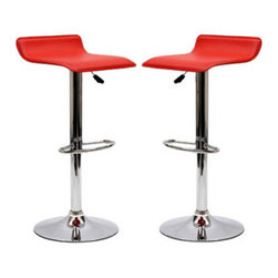 """LexMod - Gloria Bar Stool Set of 2 in Red - Gloria Bar Stool Set of 2 in Red - The Gloria Bar Stool is classy but simple, perfect for entertaining guests at your home bar or the kitchen counter. The Gloria Bar Stool features a low key design that brings true style. Set Includes: Two - Two Gloria Bar Stools 360 Degree Swivel, Leatherette Seat, Chromed Steel Base and Frame Overall Product Dimensions: 15.5""""L x 15.5""""W x 25.5 - 34""""H Seat Height: 22.5 - 31""""H - Mid Century Modern Furniture."""